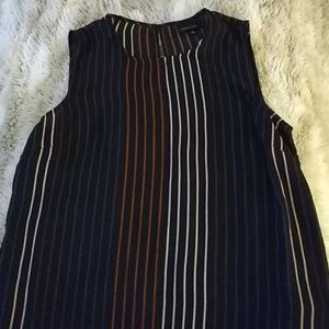 Vertical stripe black sleeveless top sz xs